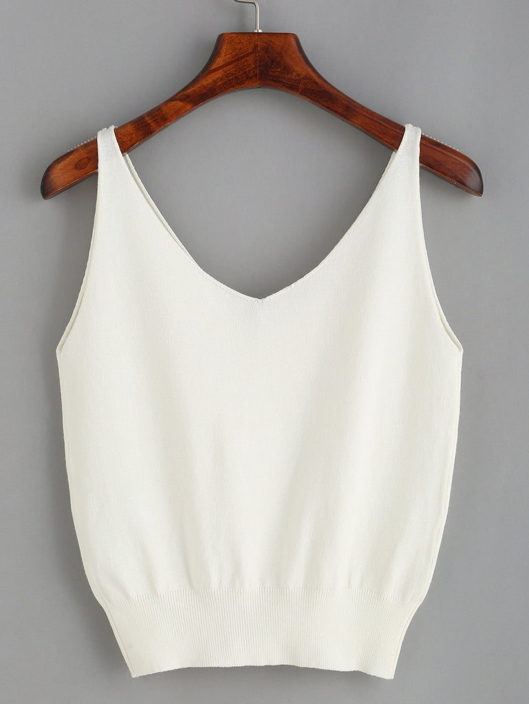 White Applique V Neck Tank Top - The Style Syndrome  - 2