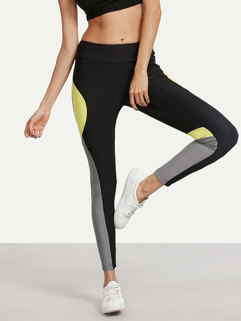 RZX Colorblock Stretchy Skinny Leggings