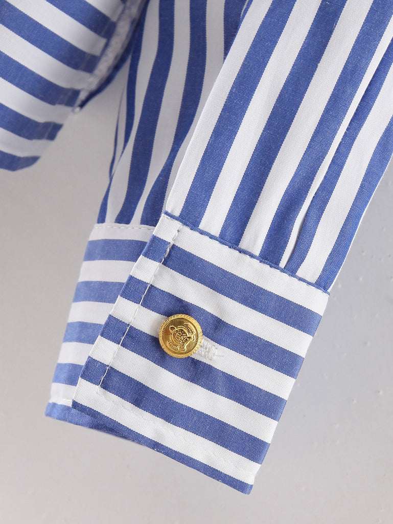 Blue Long Sleeve Applique Stripe Blouse - The Style Syndrome  - 4