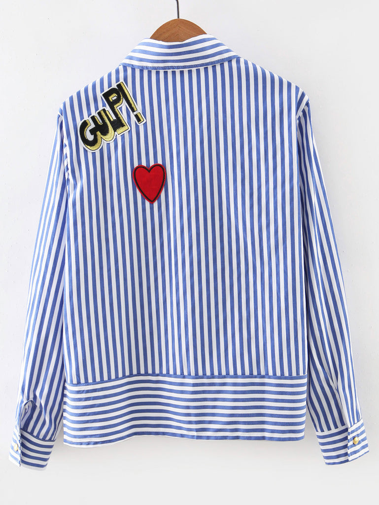 Blue Long Sleeve Applique Stripe Blouse - The Style Syndrome  - 5