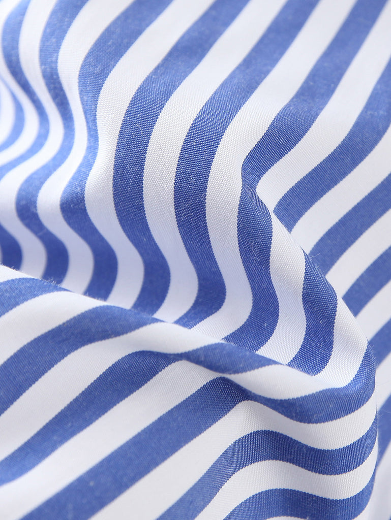 Blue Long Sleeve Applique Stripe Blouse - The Style Syndrome  - 6