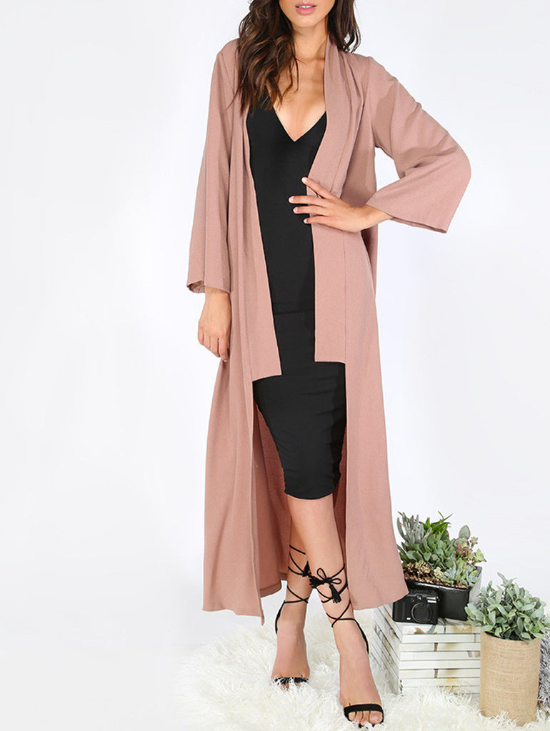 Brown Long Sleeve Lapel Cardigan Long Outerwear - The Style Syndrome  - 1