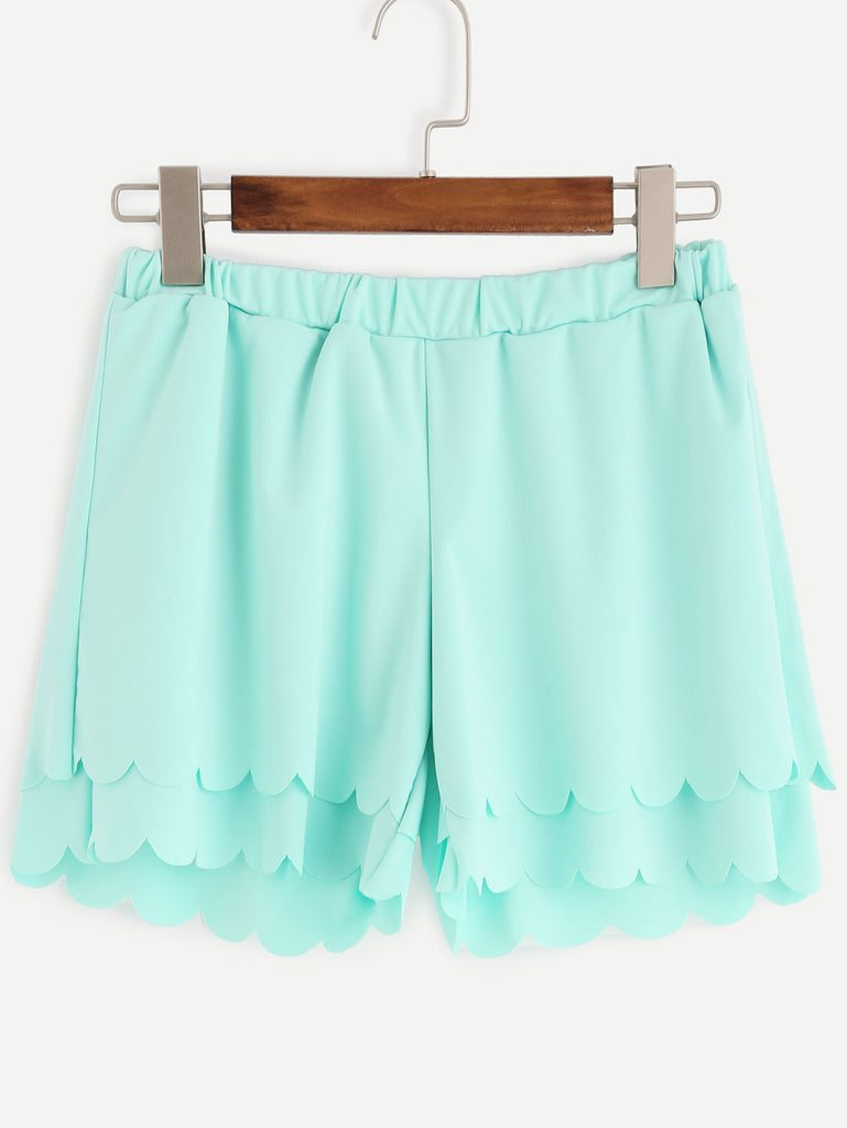 Green Layered Scalloped Elastic Waist Shorts - The Style Syndrome  - 1