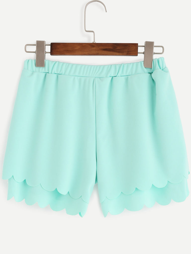 Green Layered Scalloped Elastic Waist Shorts - The Style Syndrome  - 3