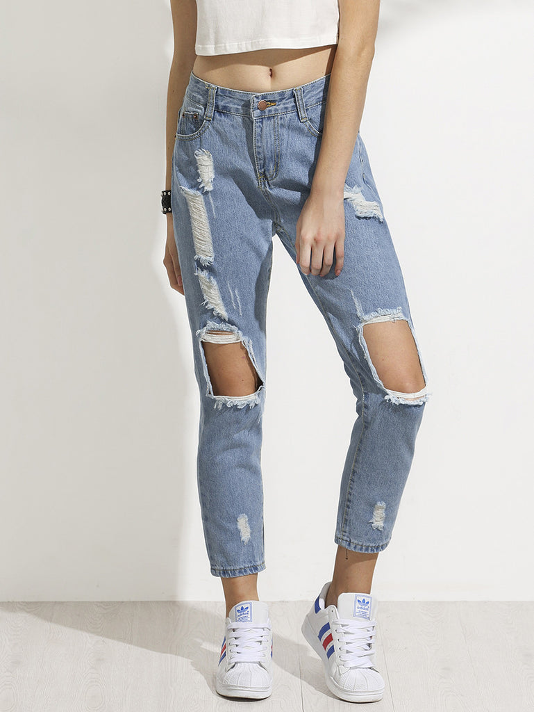 Blue Distressed Ankle Jeans RZX - The Style Syndrome  - 1