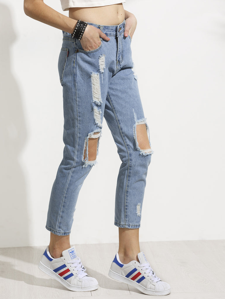Blue Distressed Ankle Jeans RZX - The Style Syndrome  - 2