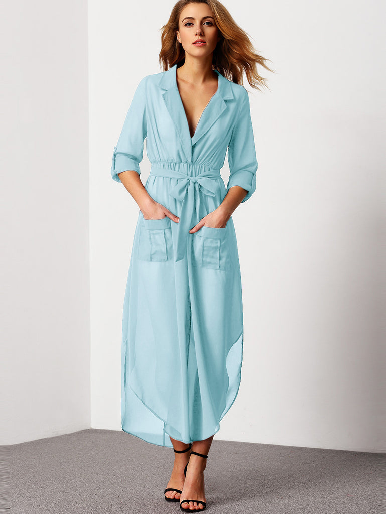 Blue Notch Lapel Belted Shirt Dress With Pocket - The Style Syndrome  - 1