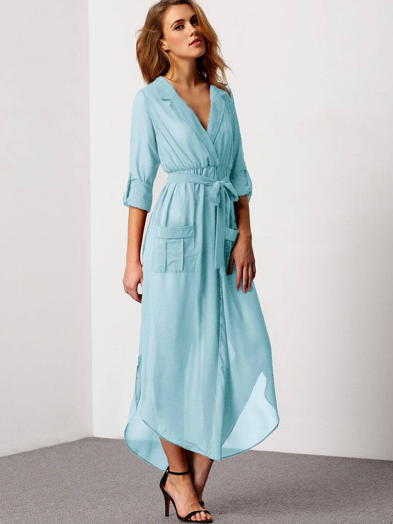Blue Notch Lapel Belted Shirt Dress With Pocket - The Style Syndrome  - 2