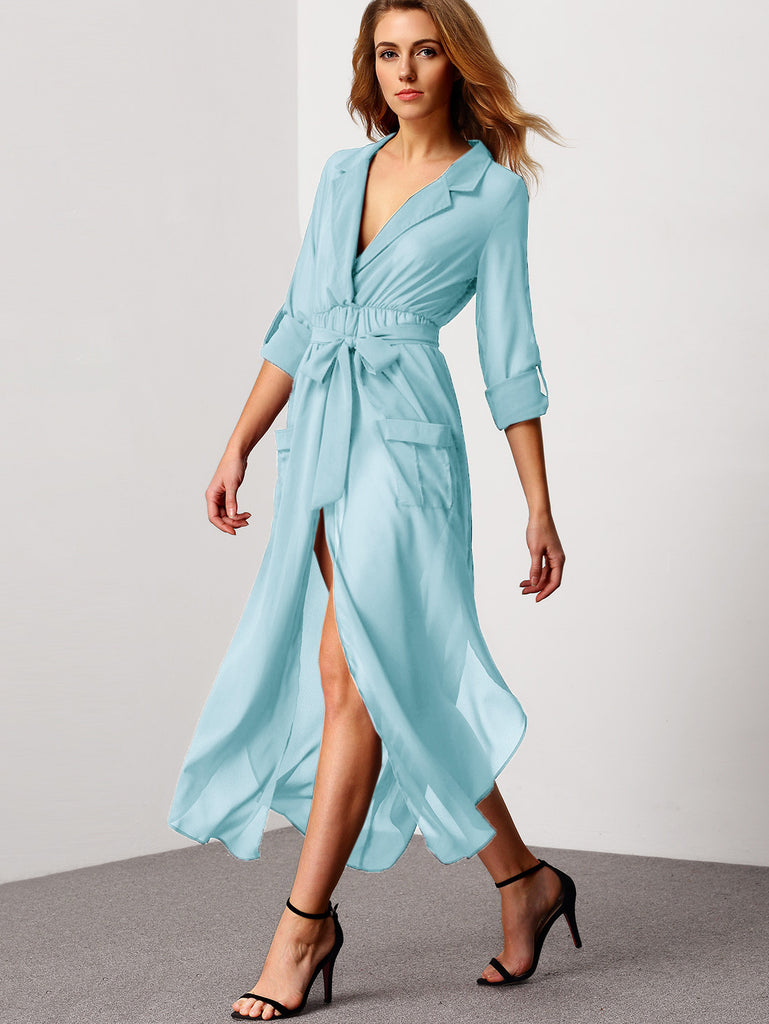 Blue Notch Lapel Belted Shirt Dress With Pocket - The Style Syndrome  - 4