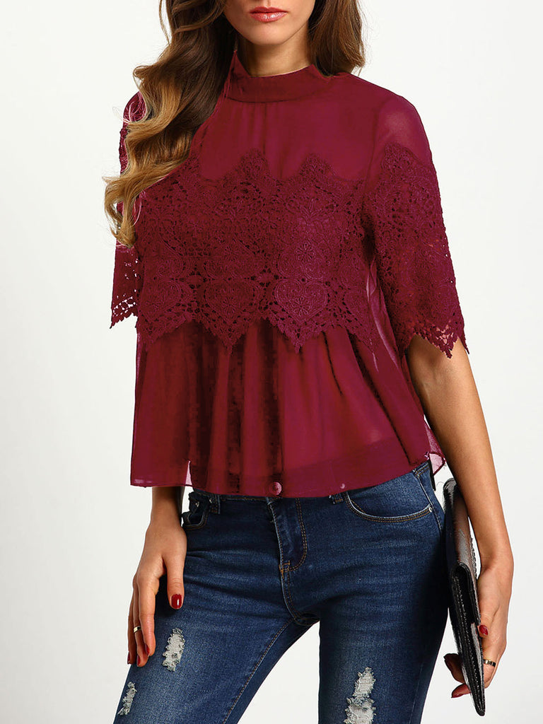 Burgundy Keyhole Back Crochet Overlay Chiffon Blouse - The Style Syndrome  - 1