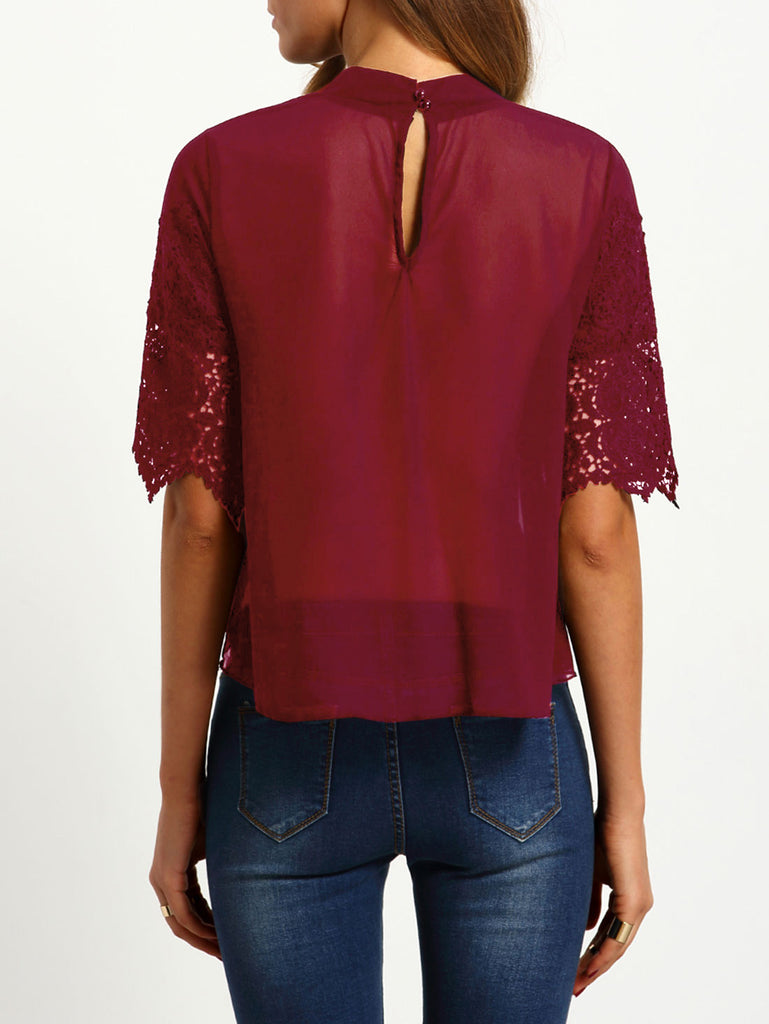 Burgundy Keyhole Back Crochet Overlay Chiffon Blouse - The Style Syndrome  - 2