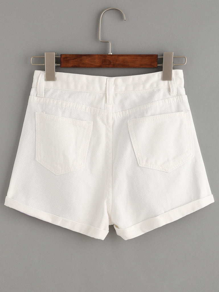 White Contrast Ripped Denim Shorts - The Style Syndrome  - 3