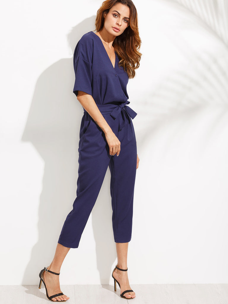 Blue V Neck Self Tie Jumpsuit - The Style Syndrome  - 1