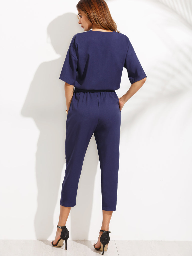 Blue V Neck Self Tie Jumpsuit - The Style Syndrome  - 2