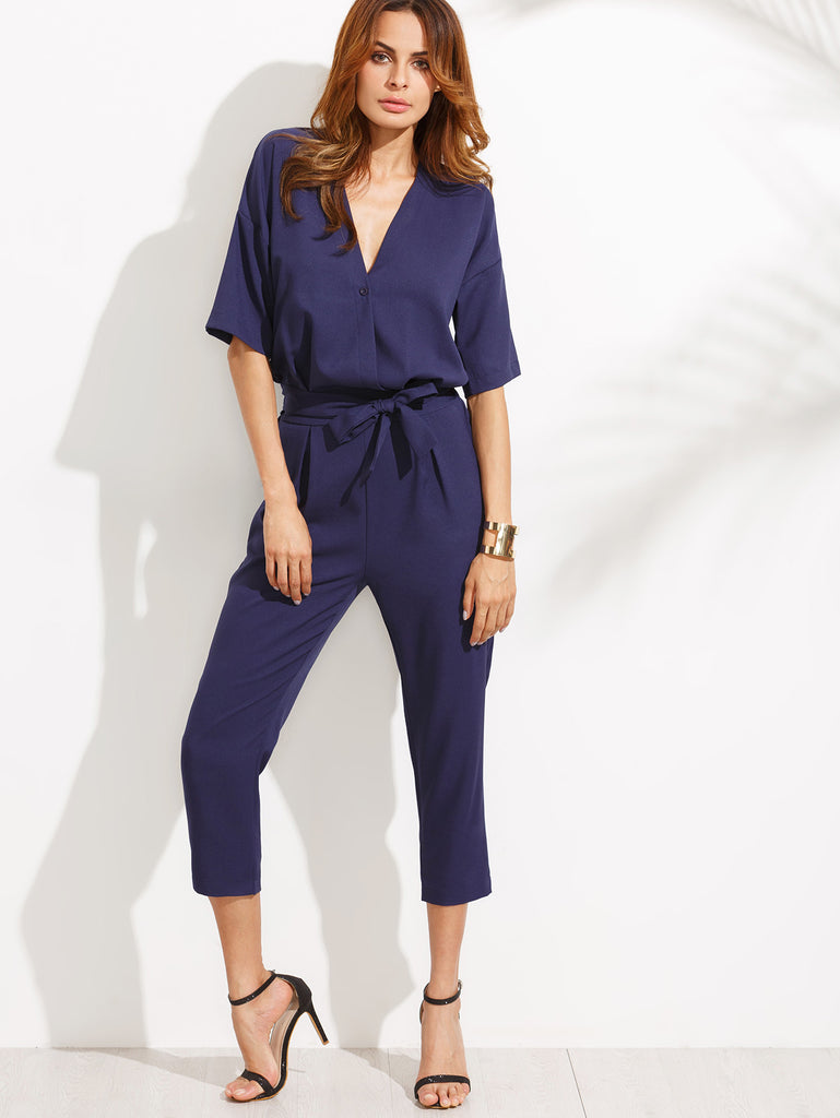 Blue V Neck Self Tie Jumpsuit - The Style Syndrome  - 3