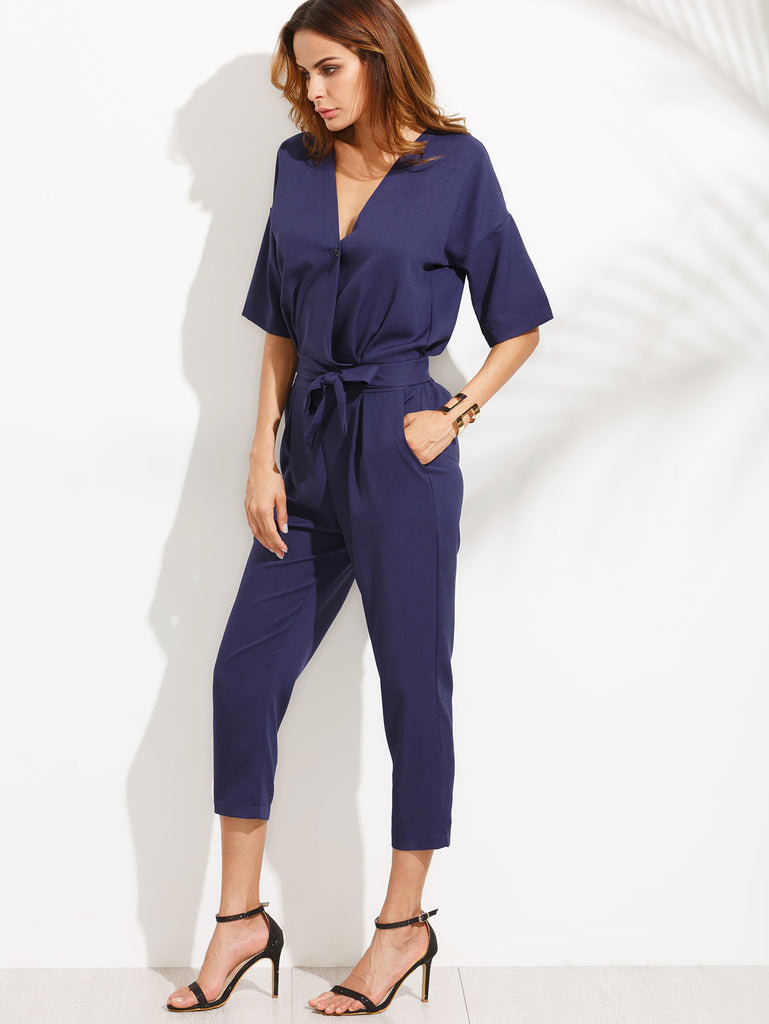Blue V Neck Self Tie Jumpsuit - The Style Syndrome  - 5