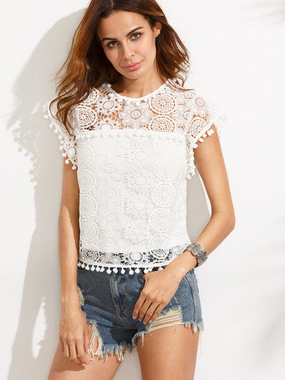 White Pompom Trim Lace Blouse - The Style Syndrome  - 1