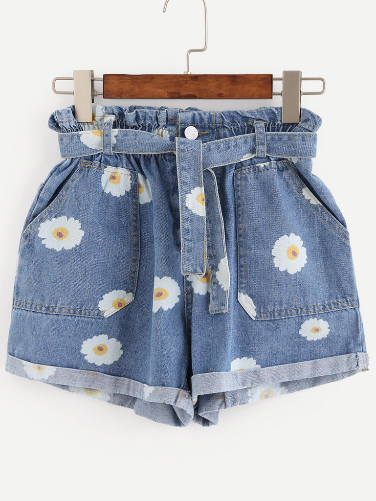 Blue Daisy Print Ruffle Waist Self Tie Denim Shorts - The Style Syndrome  - 1