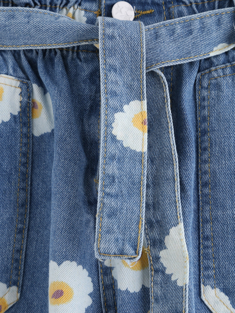 Blue Daisy Print Ruffle Waist Self Tie Denim Shorts - The Style Syndrome  - 3