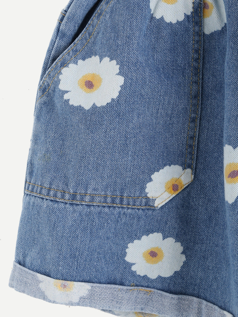 Blue Daisy Print Ruffle Waist Self Tie Denim Shorts - The Style Syndrome  - 2