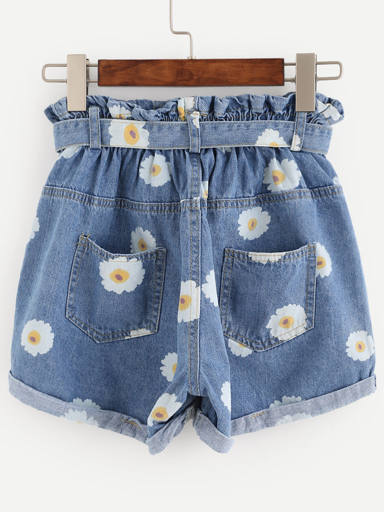 Blue Daisy Print Ruffle Waist Self Tie Denim Shorts - The Style Syndrome  - 4