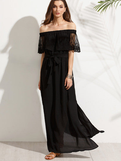 Black Off The Shoulder Split Maxi Dress - The Style Syndrome  - 2
