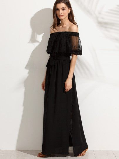Black Off The Shoulder Split Maxi Dress - The Style Syndrome  - 4