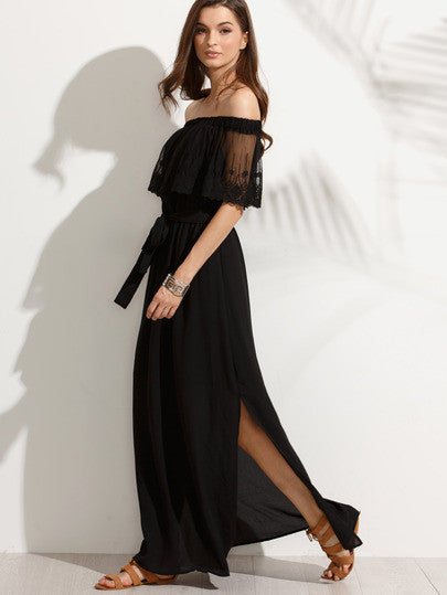 Black Off The Shoulder Split Maxi Dress - The Style Syndrome  - 3