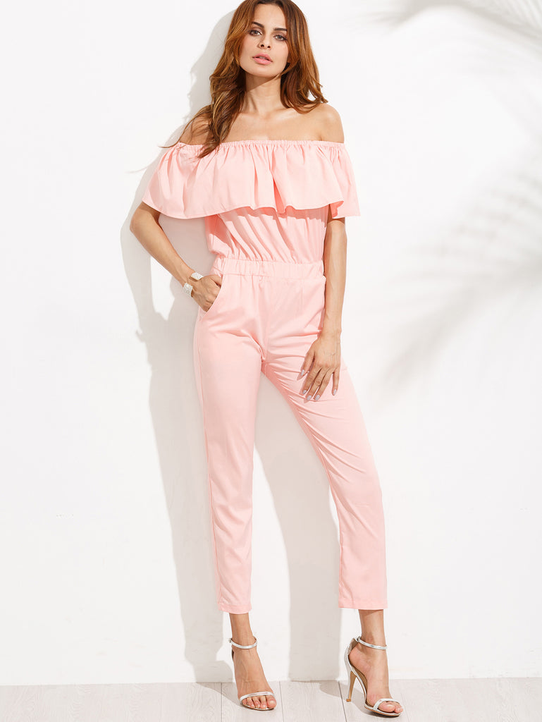Pink Off The Shoulder Ruffle Jumpsuit - The Style Syndrome  - 1