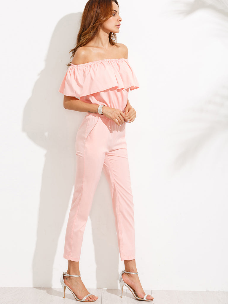 Pink Off The Shoulder Ruffle Jumpsuit - The Style Syndrome  - 2