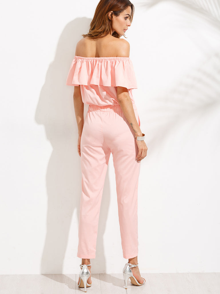 Pink Off The Shoulder Ruffle Jumpsuit - The Style Syndrome  - 3