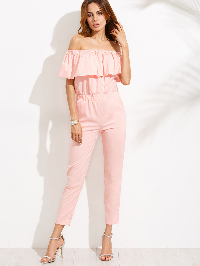 Pink Off The Shoulder Ruffle Jumpsuit - The Style Syndrome  - 4