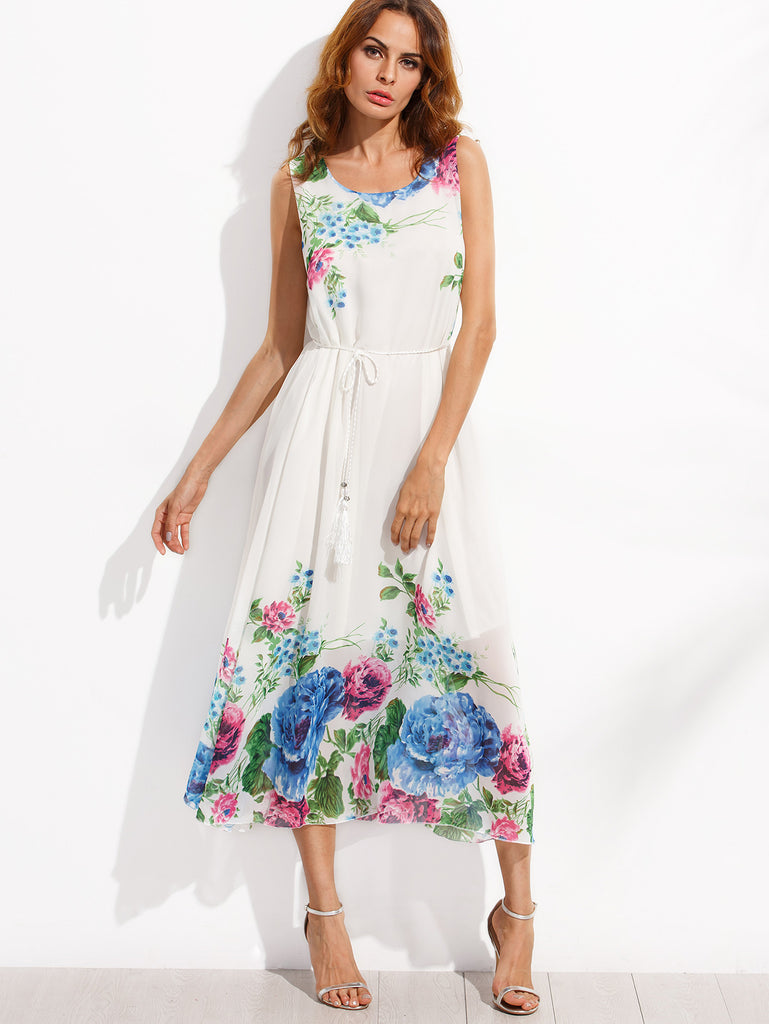 White Tassel Belted Flower Print Chiffon Dress RZX - The Style Syndrome  - 1