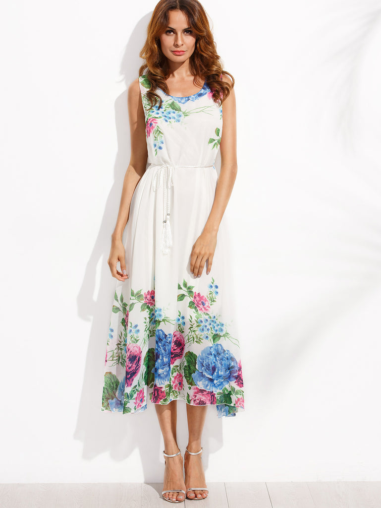 White Tassel Belted Flower Print Chiffon Dress RZX - The Style Syndrome  - 2