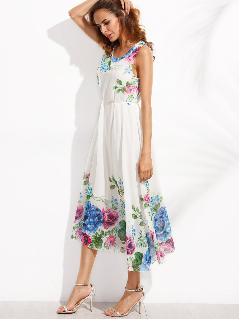 White Tassel Belted Flower Print Chiffon Dress RZX - The Style Syndrome  - 4