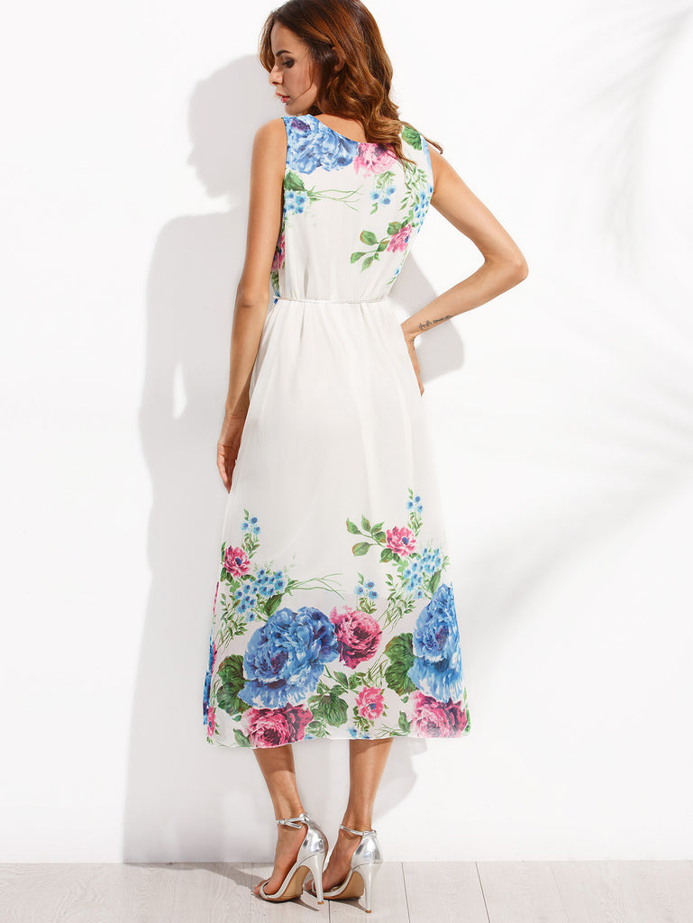 White Tassel Belted Flower Print Chiffon Dress RZX - The Style Syndrome  - 3