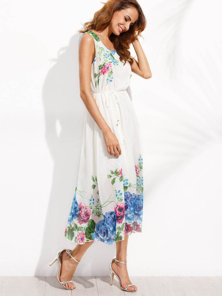 White Tassel Belted Flower Print Chiffon Dress RZX - The Style Syndrome  - 5