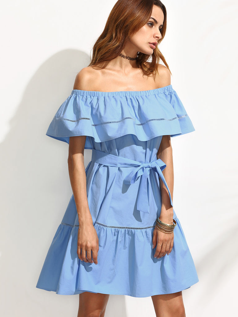 Blue Tie Waist Hollow Insert Ruffle Off The Shoulder Dress - The Style Syndrome  - 1