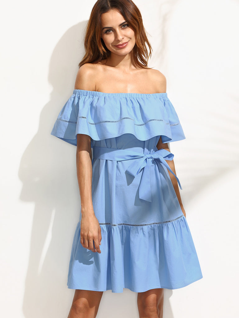 Blue Tie Waist Hollow Insert Ruffle Off The Shoulder Dress - The Style Syndrome  - 2