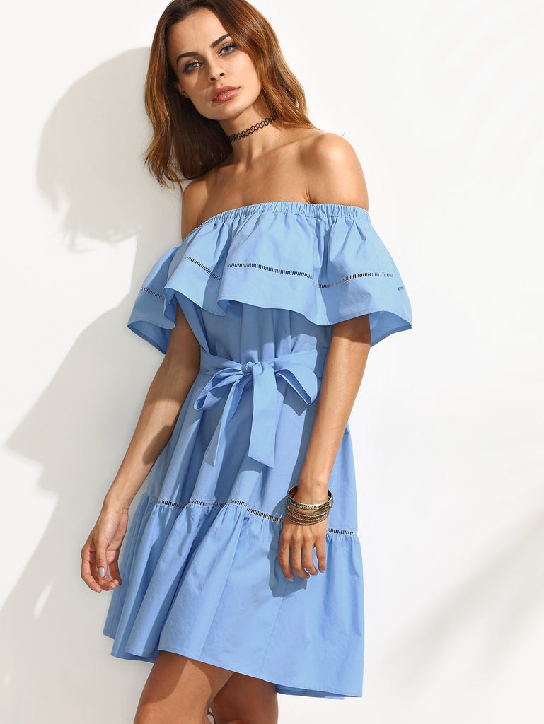 Blue Tie Waist Hollow Insert Ruffle Off The Shoulder Dress - The Style Syndrome  - 3