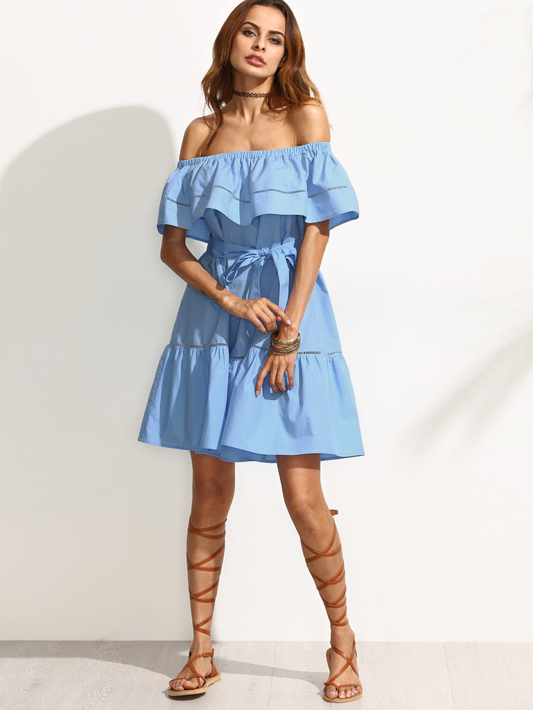 Blue Tie Waist Hollow Insert Ruffle Off The Shoulder Dress - The Style Syndrome  - 4