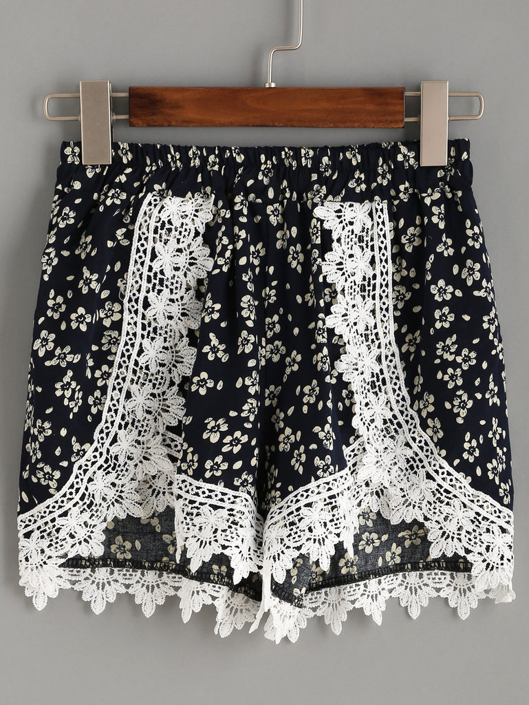 Navy Flower Print Crochet Trim Wrap Shorts - The Style Syndrome  - 1