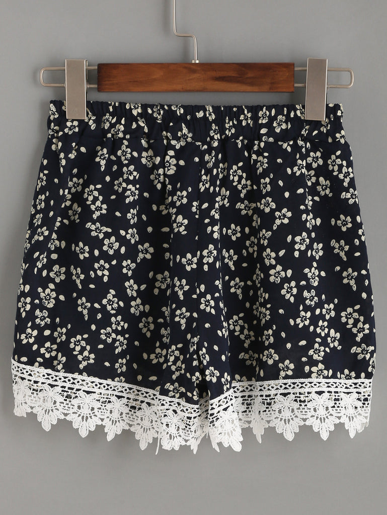 Navy Flower Print Crochet Trim Wrap Shorts - The Style Syndrome  - 3