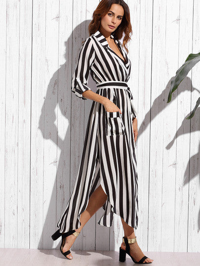 Contrast Vertical Striped Notch Lapel Belted Shirt Dress - The Style Syndrome  - 1