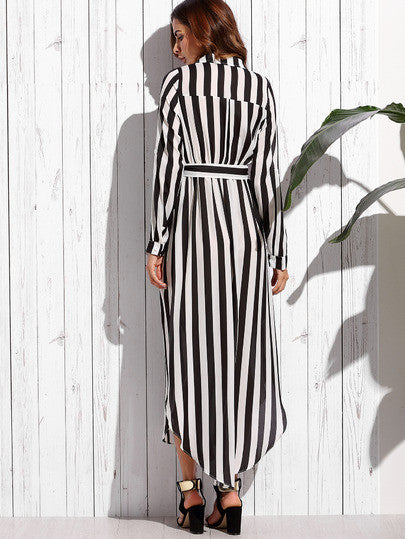 Contrast Vertical Striped Notch Lapel Belted Shirt Dress - The Style Syndrome  - 2
