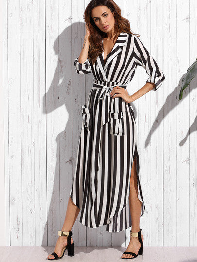 Contrast Vertical Striped Notch Lapel Belted Shirt Dress - The Style Syndrome  - 3