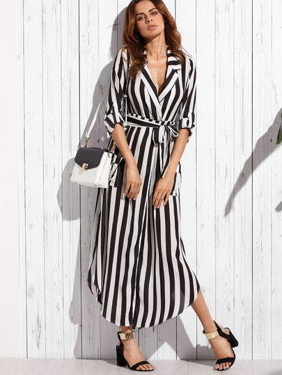 Contrast Vertical Striped Notch Lapel Belted Shirt Dress - The Style Syndrome  - 4