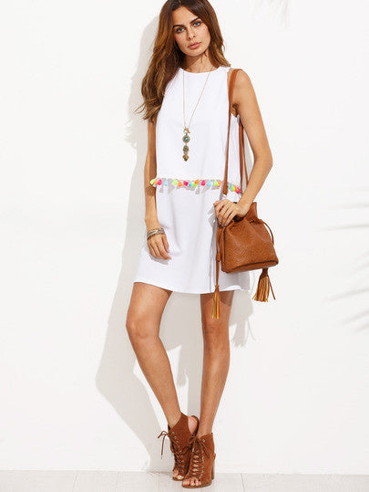 White Tassel Trim Sleeveless A-line Dress RZX - The Style Syndrome  - 4