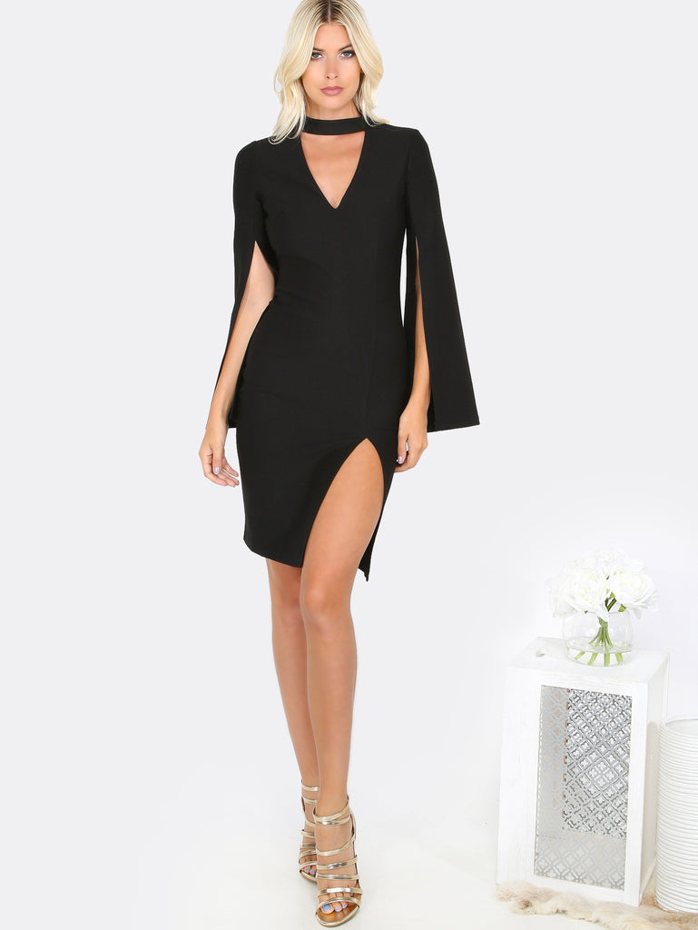 Choker Cut Out Bodycon Dress BLACK