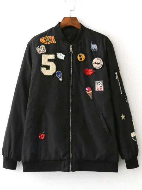 Black Crew Neck Applique Pocket Jacket - The Style Syndrome